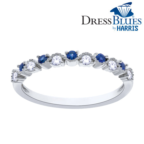 Dress Blues® diamond and blue sapphire stackable band