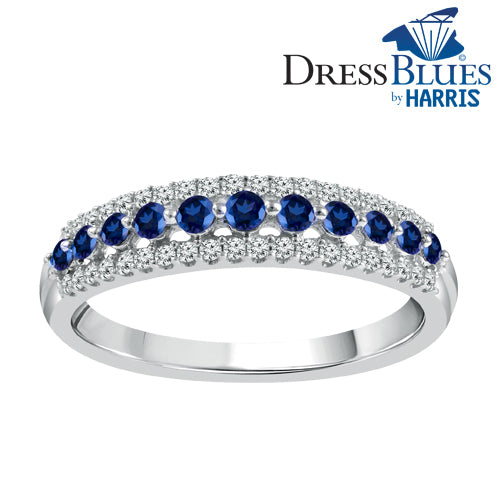 Dress Blues® white gold with diamonds and blue sapphires ladies band