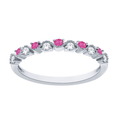 Diamond and pink sapphire stackable band