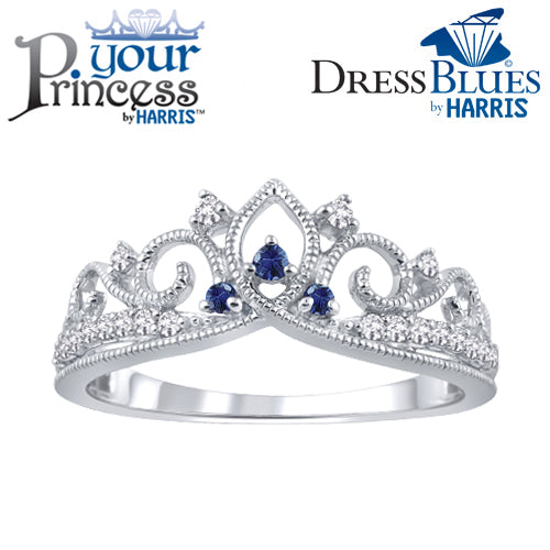 Dress Blues® diamond and blue sapphire tiara band