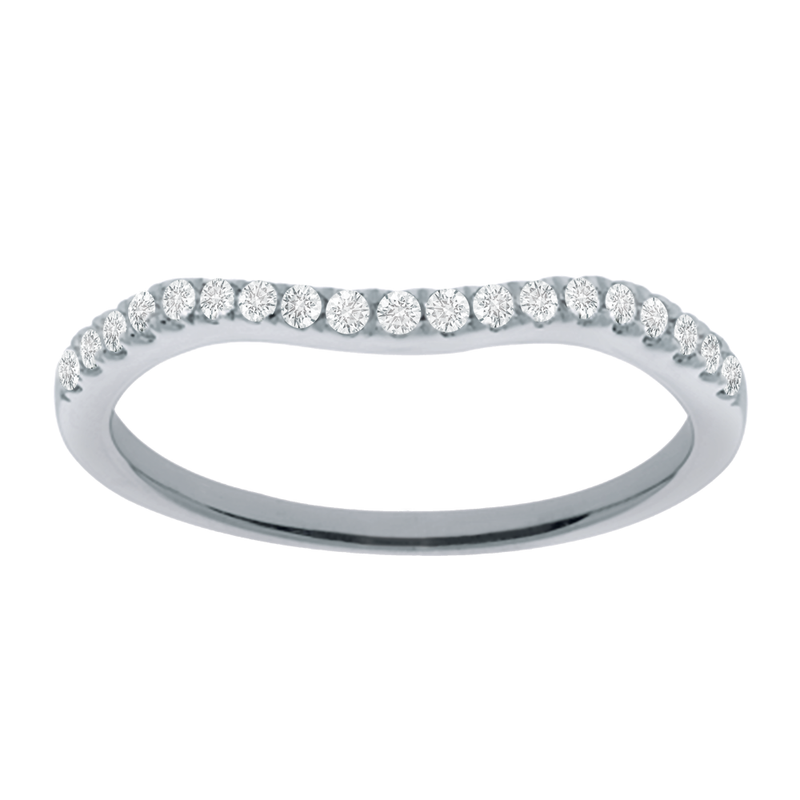 White gold with diamonds curved ladies wedding band