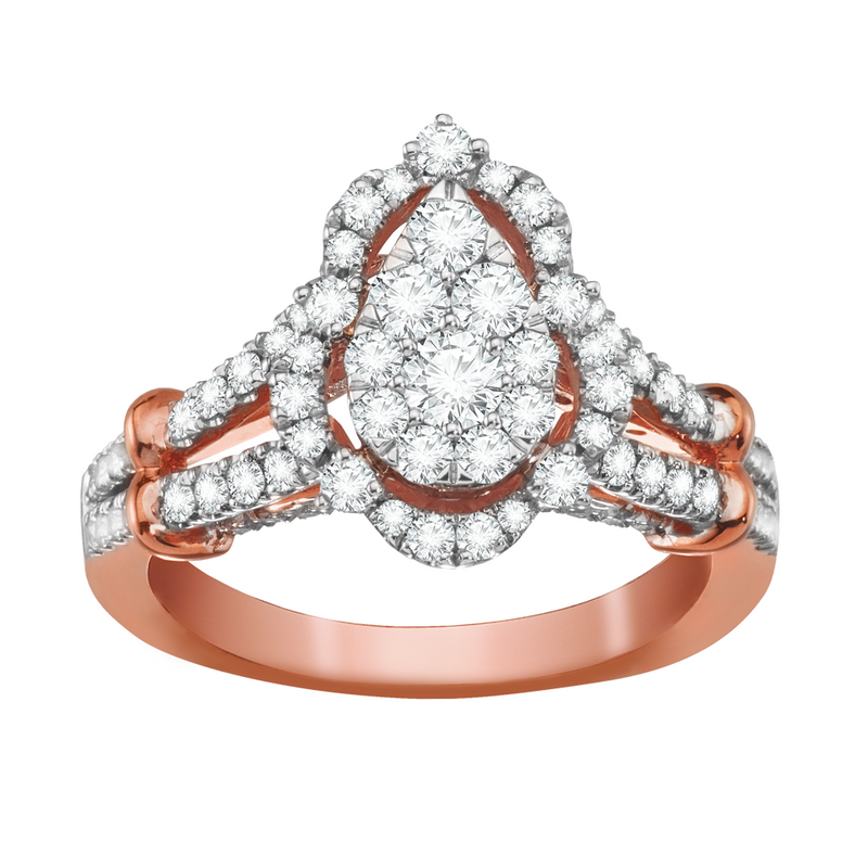 Scallop framed multi diamond engagement ring