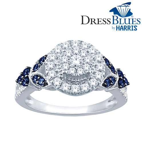 Dress Blues® framed multi diamond and blue sapphire engagement ring