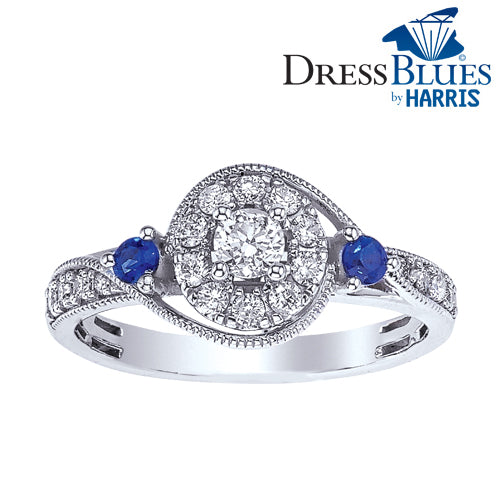 Dress Blues® diamond and blue sapphire engagement ring