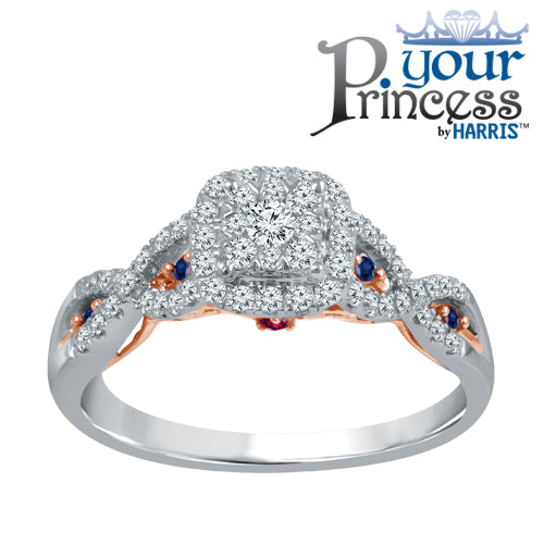 Double framed diamond and sapphire engagement ring