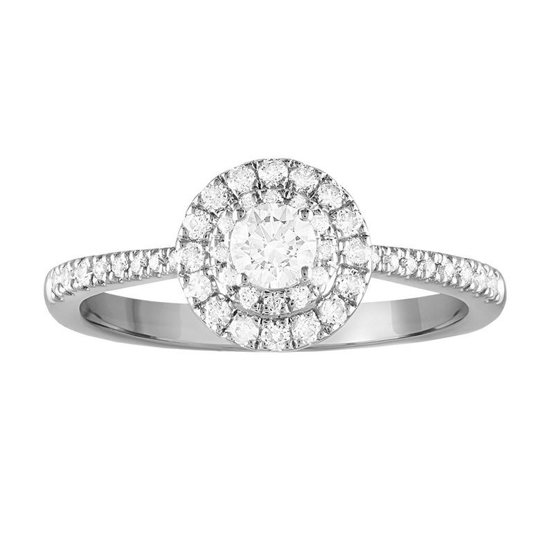 Double framed round diamond engagement ring