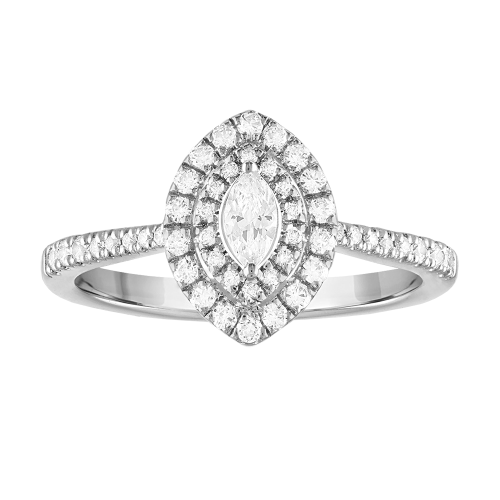 Double framed marquise diamond engagement ring