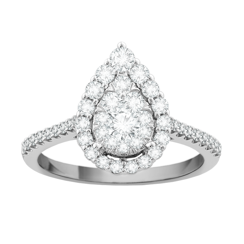 Pear framed multi diamond engagement ring