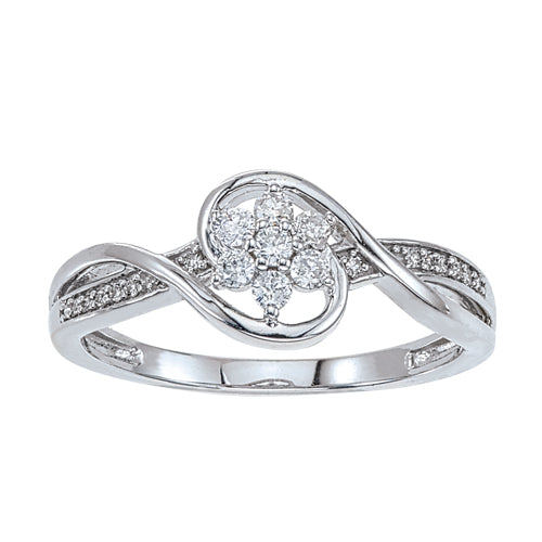 Diamond swirl ring