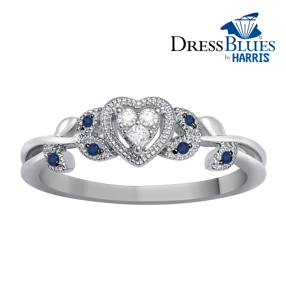 Dress Blues® heart with diamond and blue sapphire accents