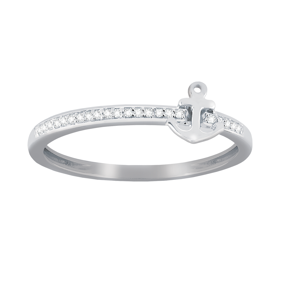Anchor shaped diamond accent stackable ring