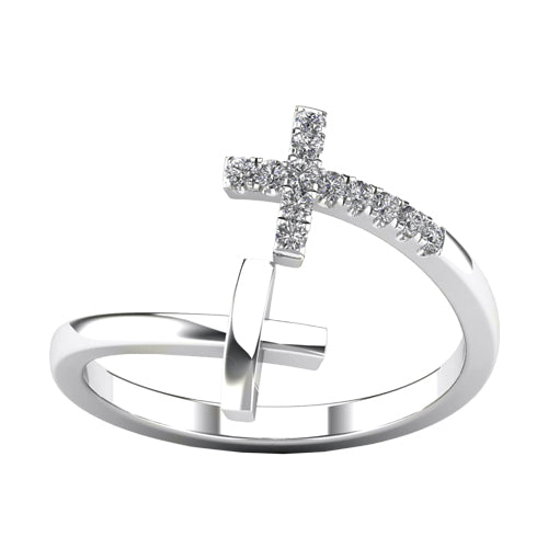 Diamond open ended double cross ring