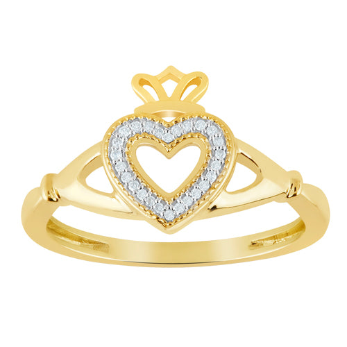 Diamond accent claddagh ring