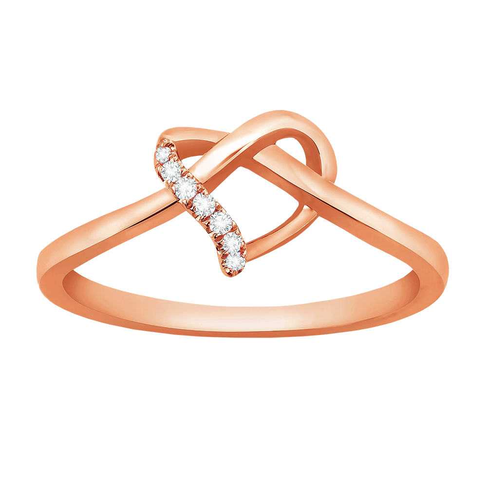 Diamond accent heart knot ring