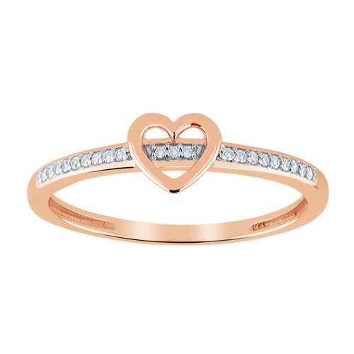 Heart shaped diamond accent stackable ring