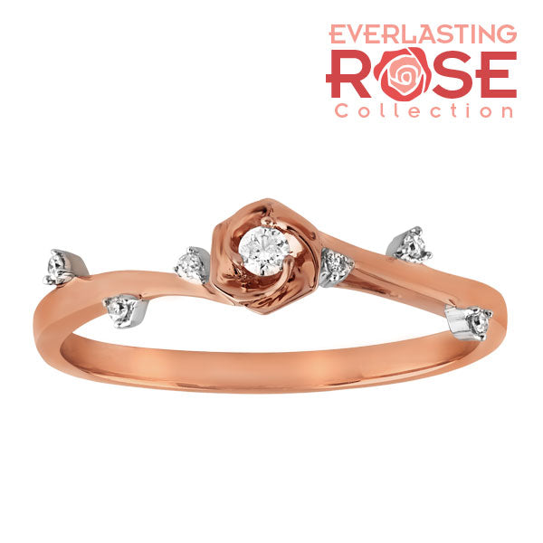 Rose and diamond accent promise ring
