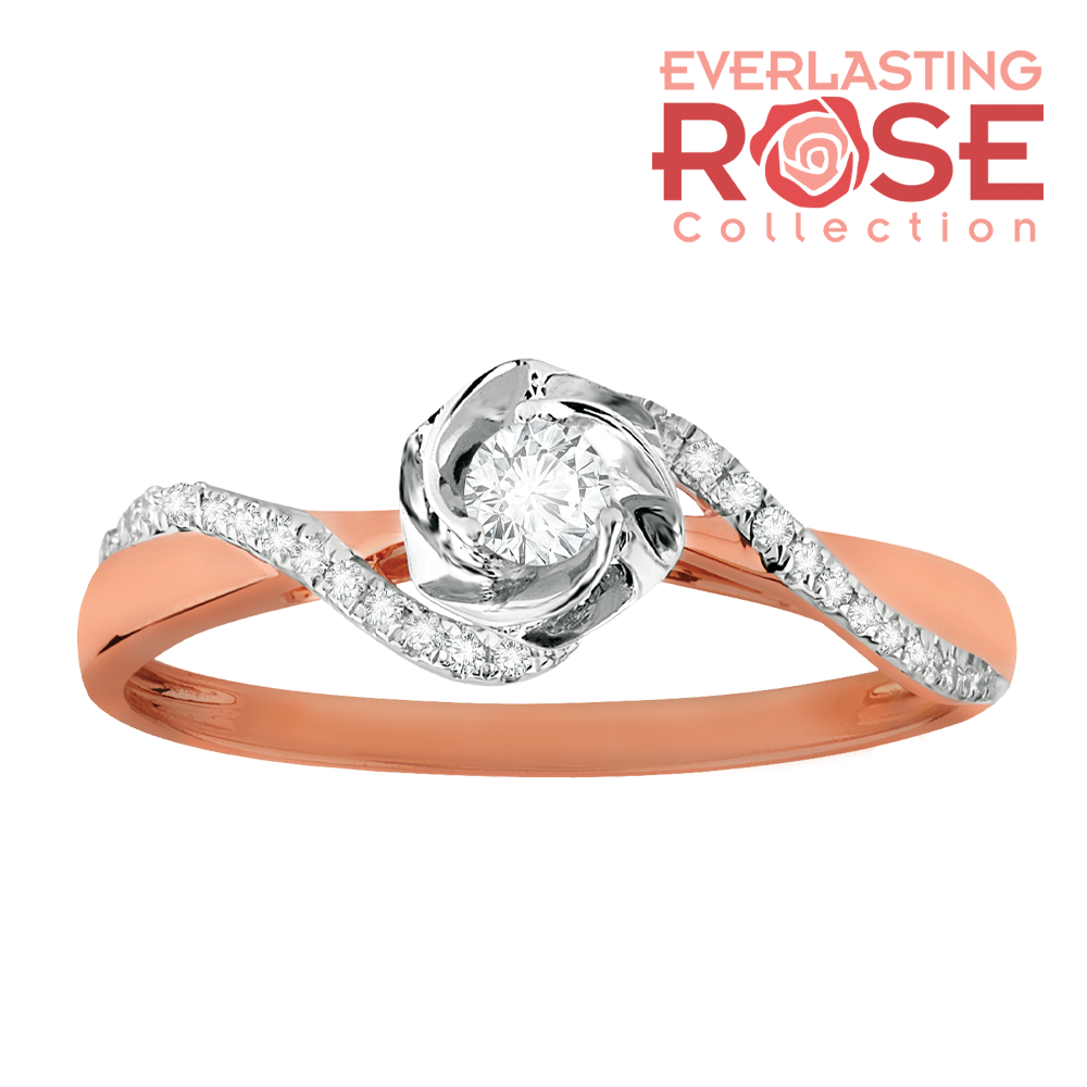 Rose and diamond swirled promise ring