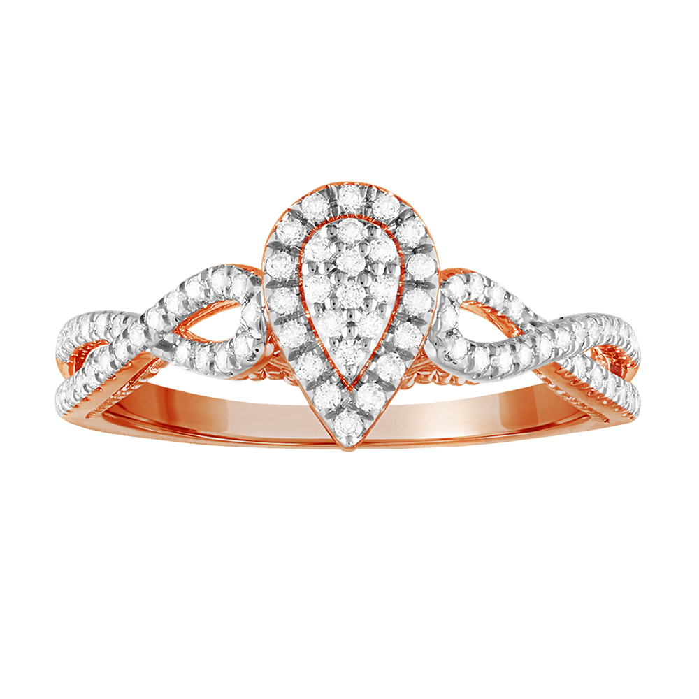Pear framed multi-diamond promise ring