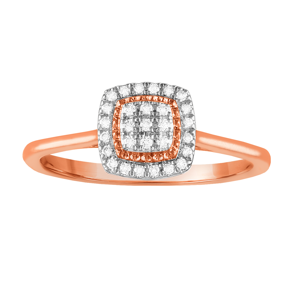 Square multi diamond promise ring