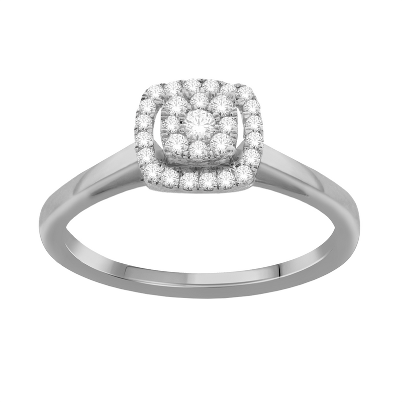Diamond framed cushion-shaped promise ring