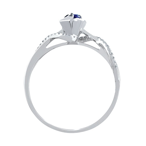 Dress Blues® diamond and blue sapphire rose promise ring