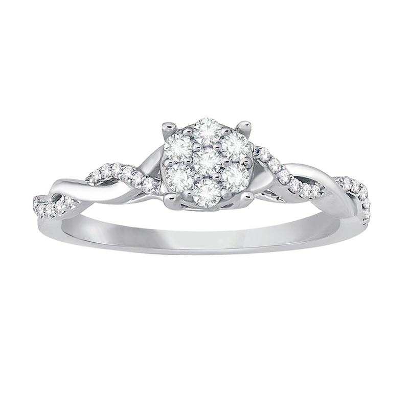 Multi diamond twist promise ring
