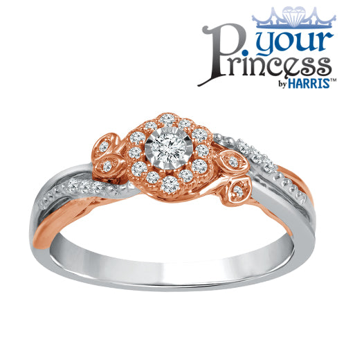 Scallop framed diamond promise ring