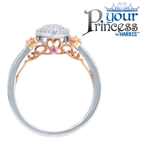 Diamond framed heart-shaped promise ring