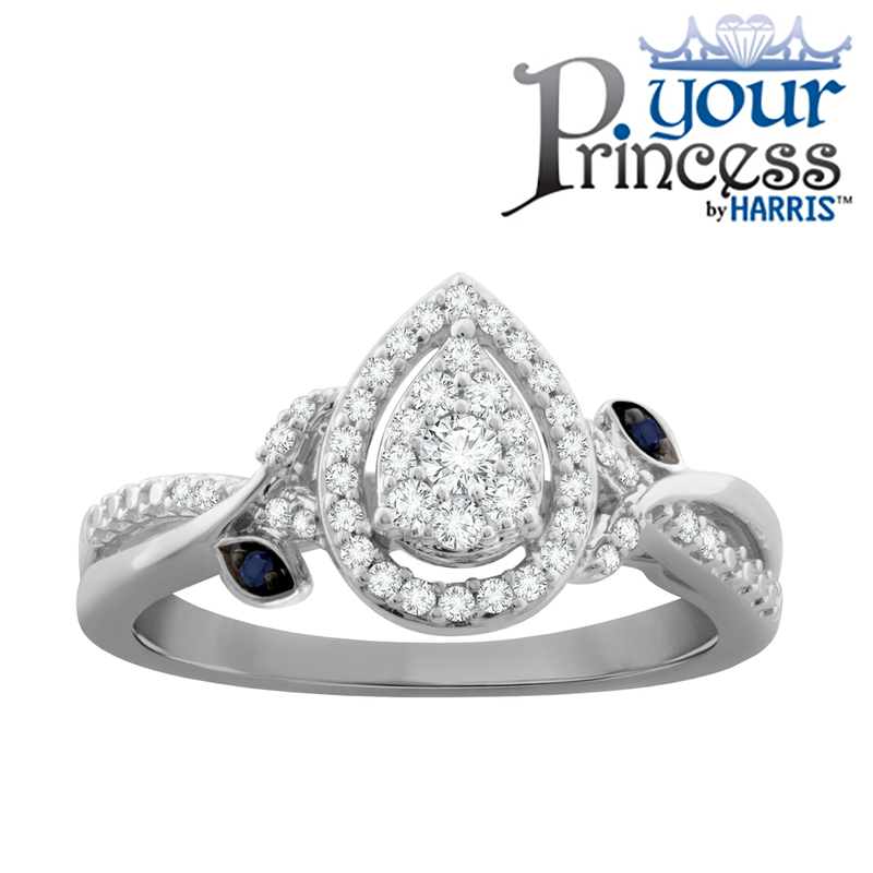 Pear framed diamond and blue sapphire promise ring