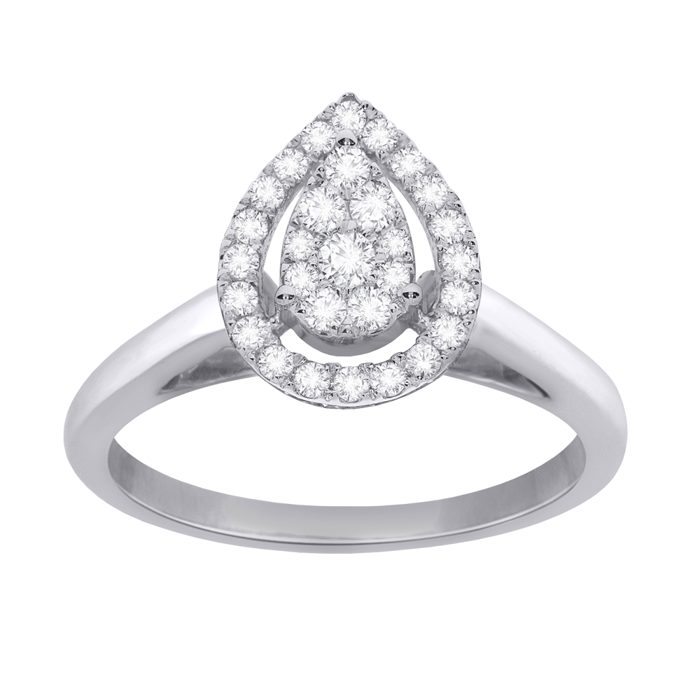 Pear framed diamond promise ring