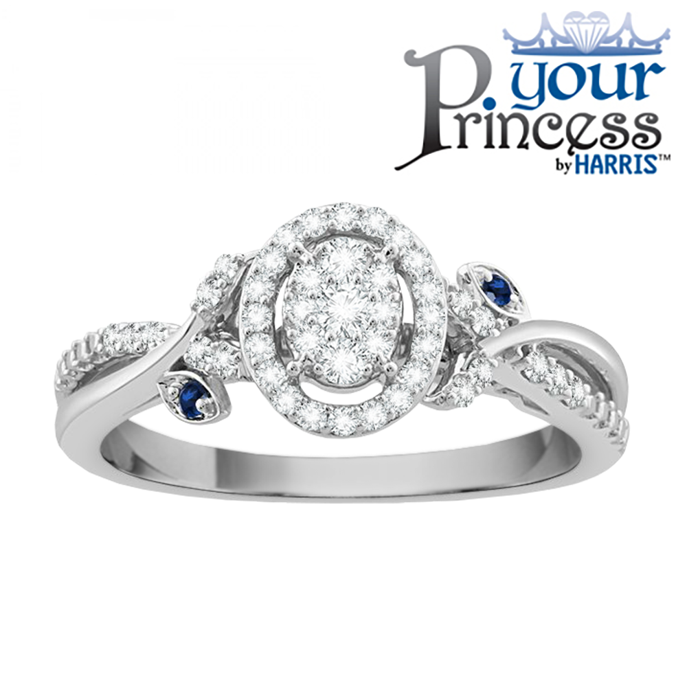 Your Princess™ oval framed diamond and blue sapphire promise ring