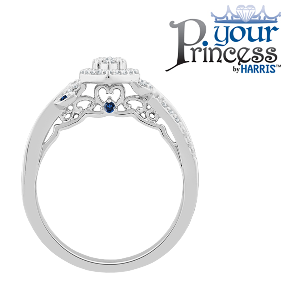 Your Princess™ marquise framed diamond and blue sapphire promise ring