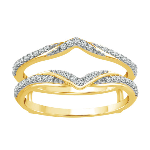 Diamonds and yellow gold insert band
