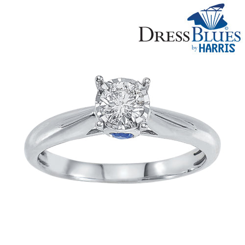 Dress Blues®diamond and blue sapphire engagement ring