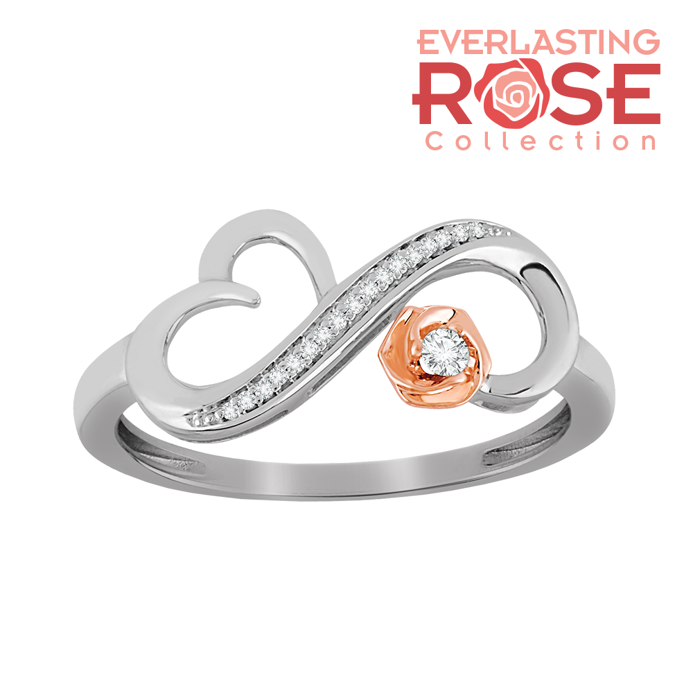 Heart swirled rose and diamond accent ring
