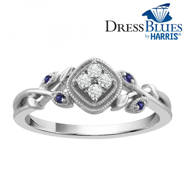 Dress Blues diamond and blue sapphire accent cushion frame ring