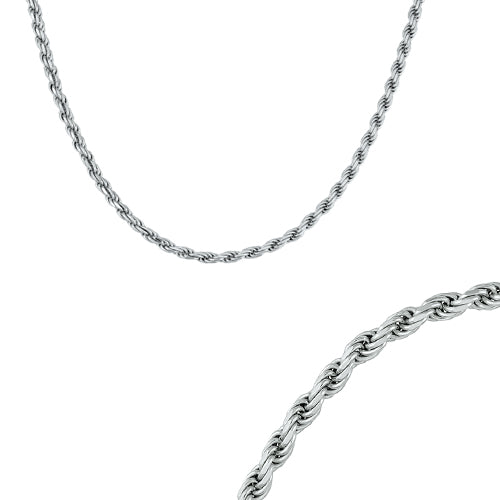 24 inch diamond cut rope chain