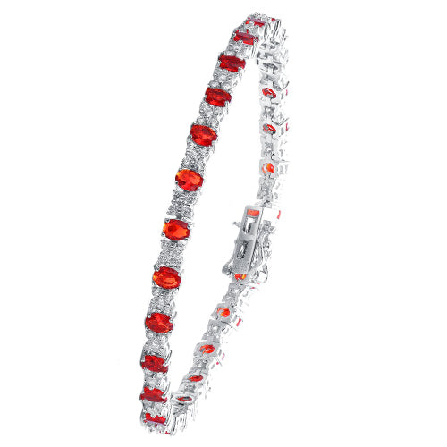 Ladies red and white cubic zirconia bracelet
