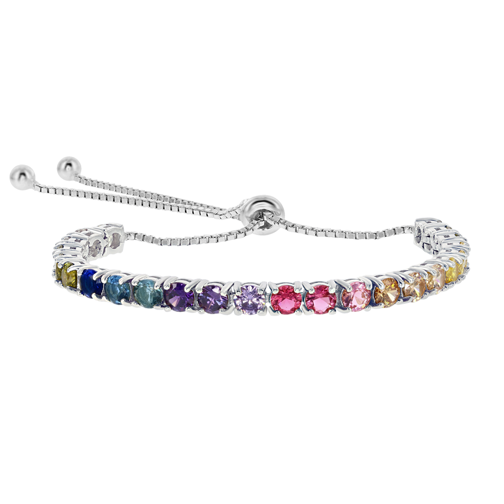 Multicolor cubic zirconia and silver adjustable bracelet