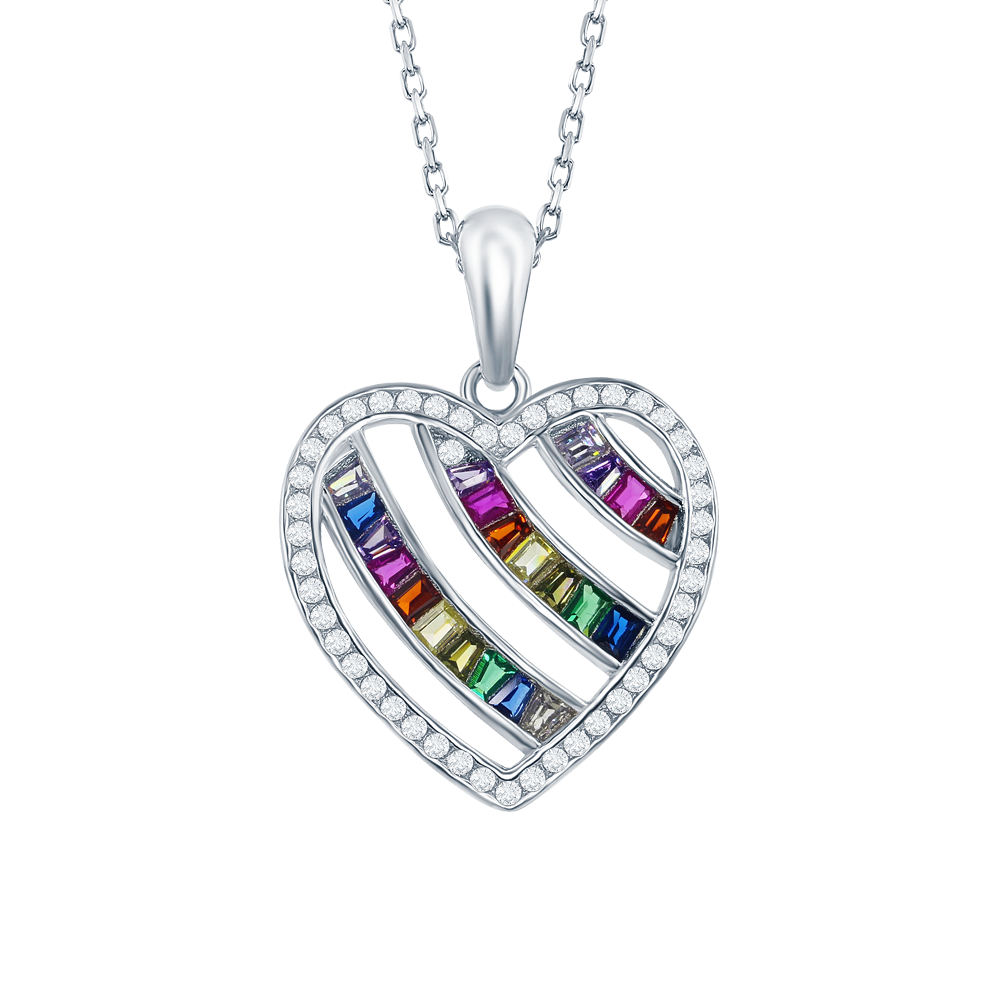 Silver multicolor cubic zirconia heart