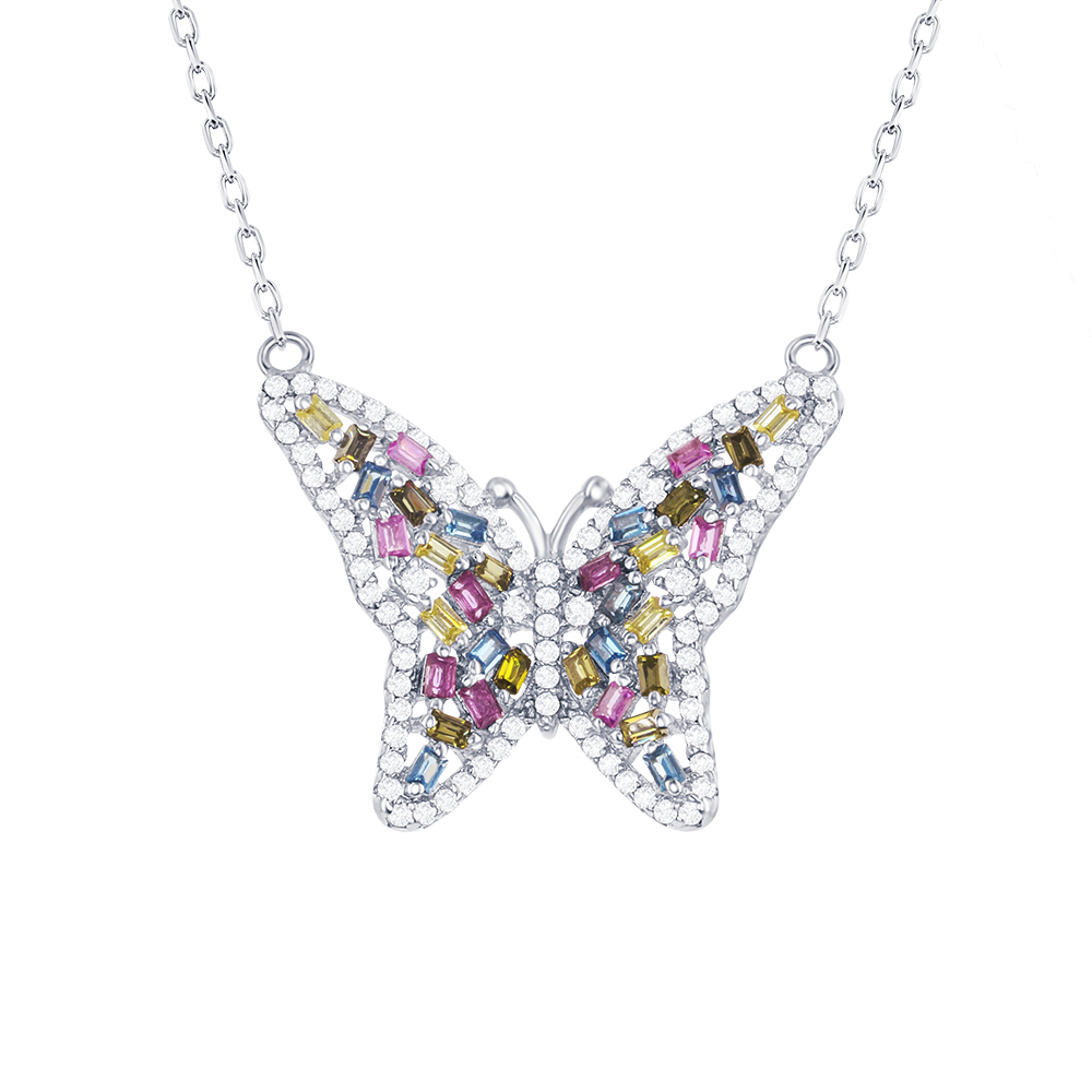 Silver multicolor cubic zirconia butterfly pendant