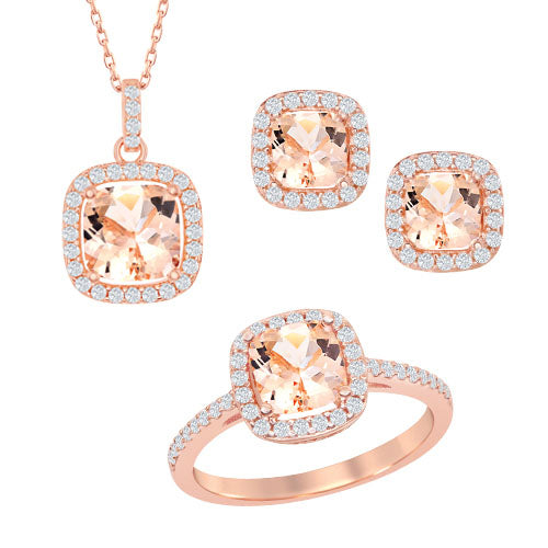 Silver and cubic zirconia 3 piece gift set
