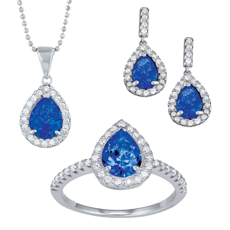 Cubic zirconia and silver 3pc gift set