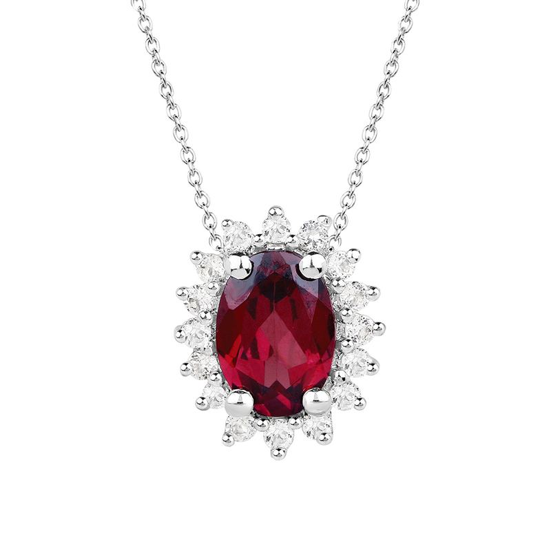 Rhodolite and white topaz silver 3pc gift set