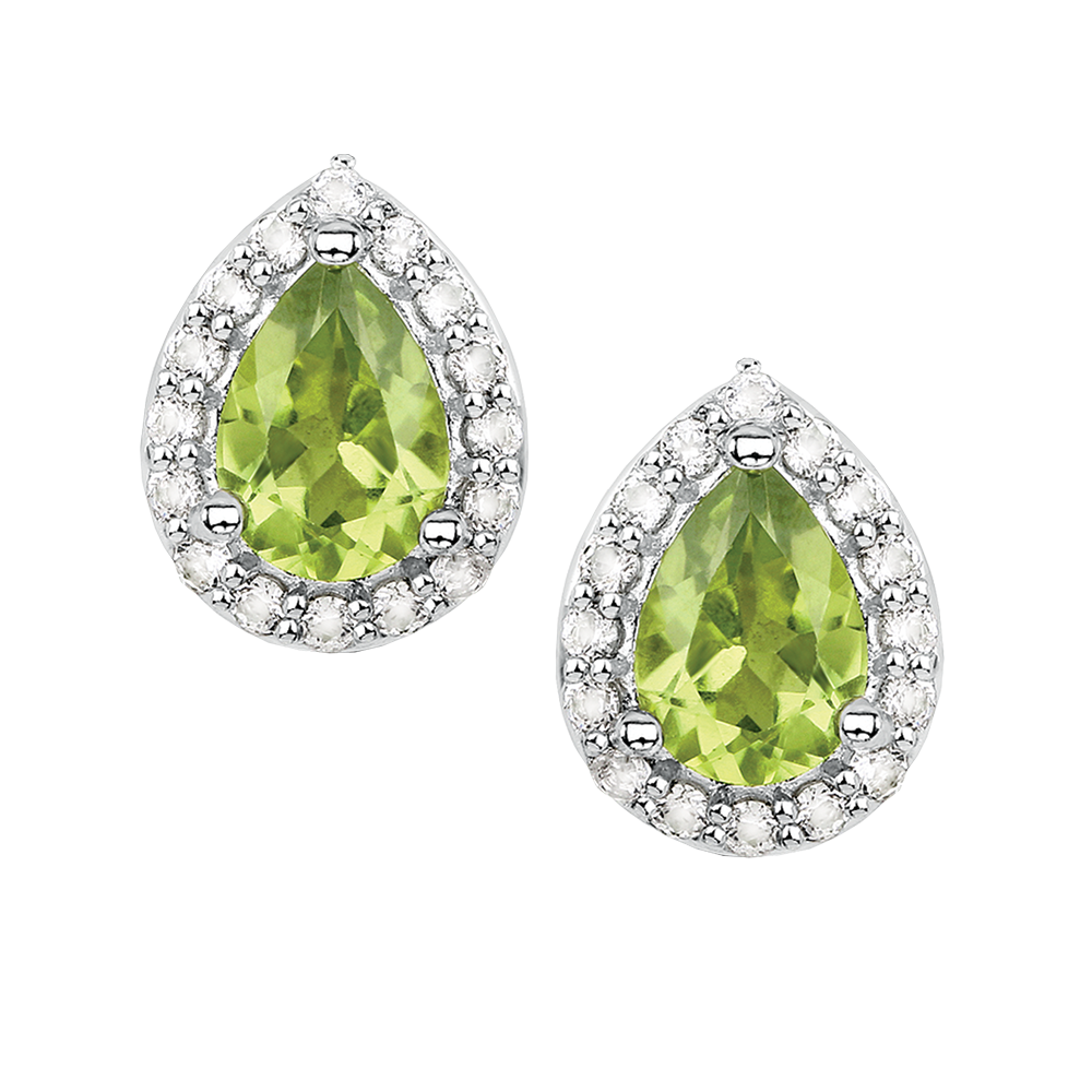 Peridot and white topaz silver 3pc gift set