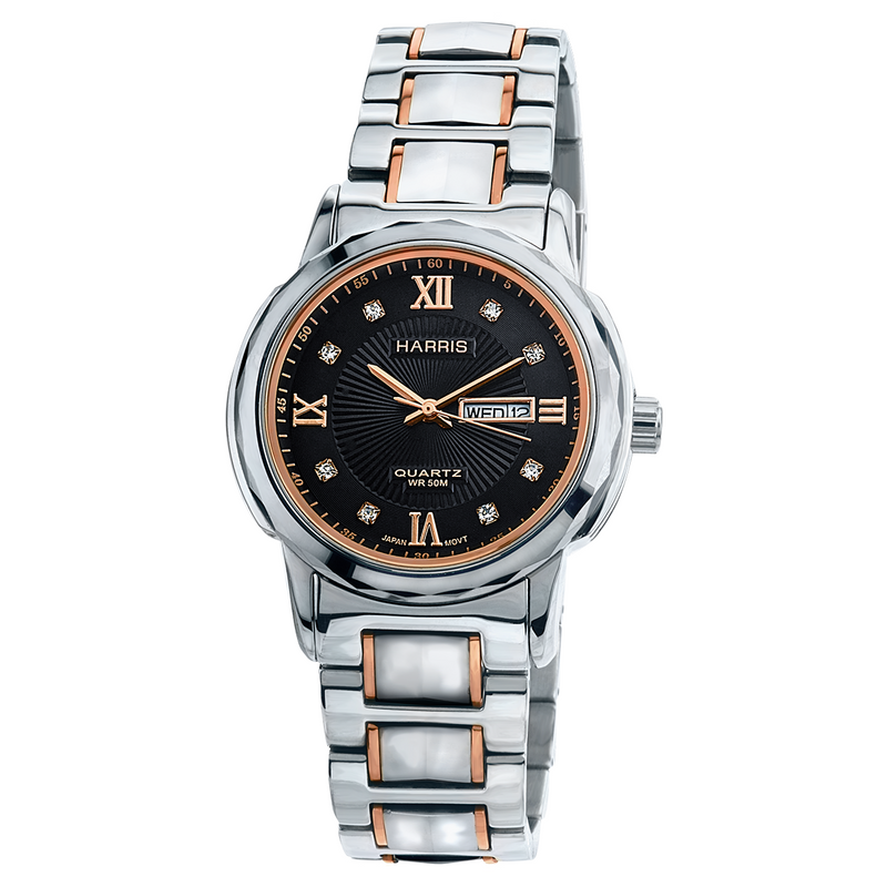 Harris rose-tone tungsten and stainless steel Men's watch with cubic zirconias