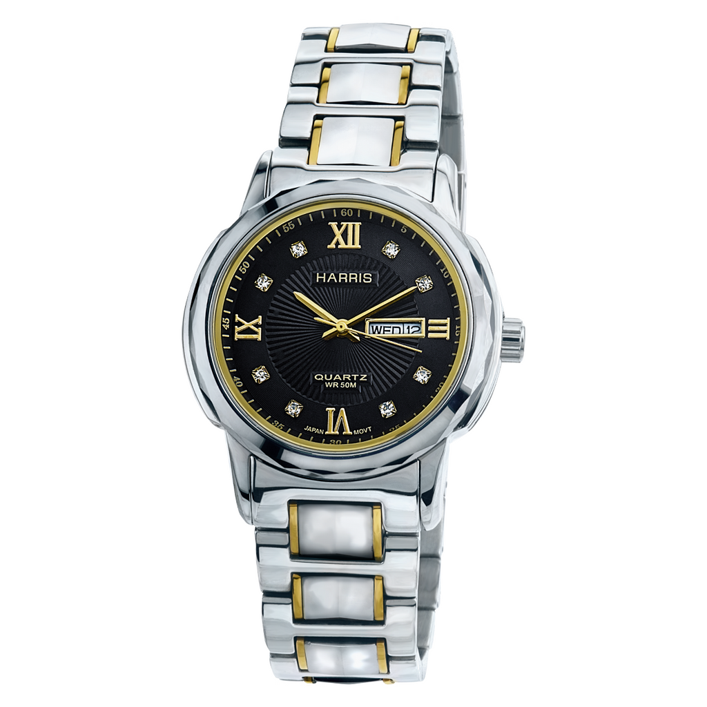 Harris gold-tone tungsten and stainless steel Men's watch with cubic zirconias