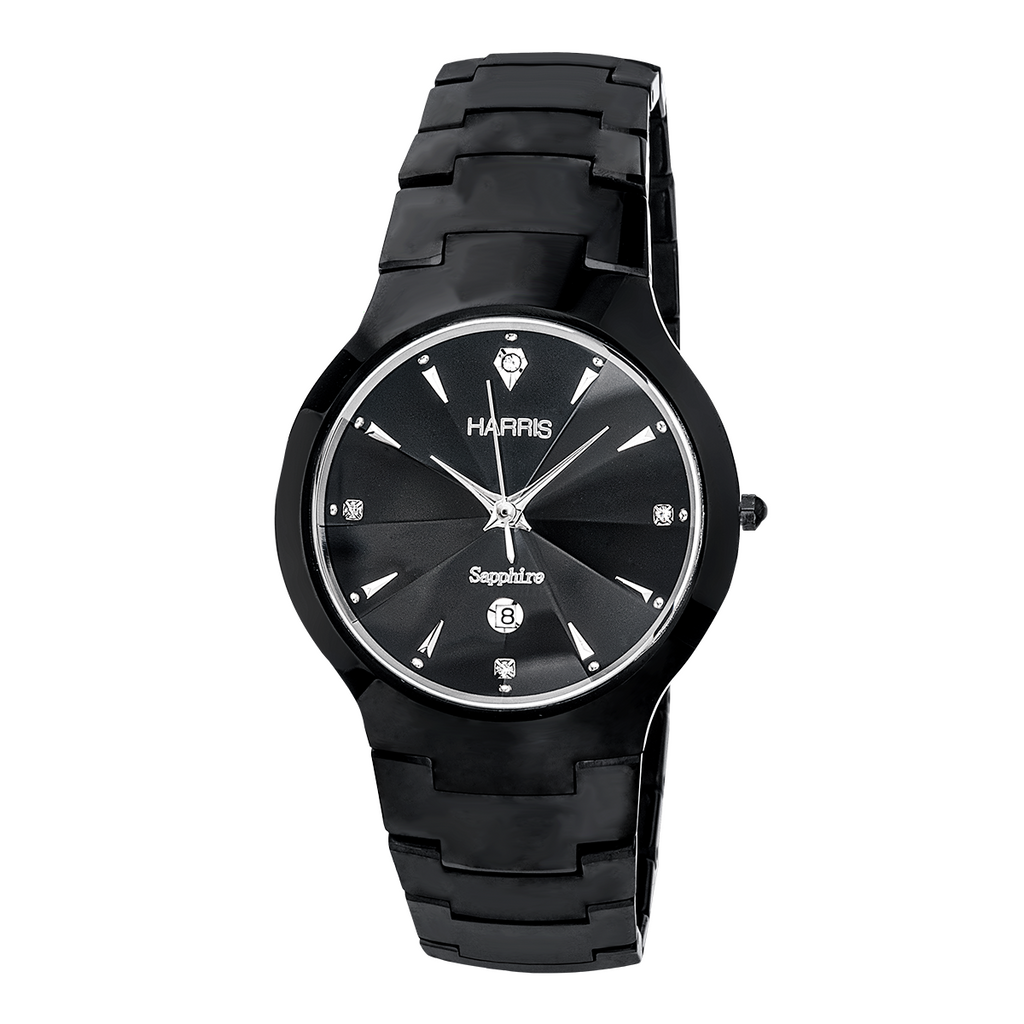 Harris black ion plated tungsten Men's watch