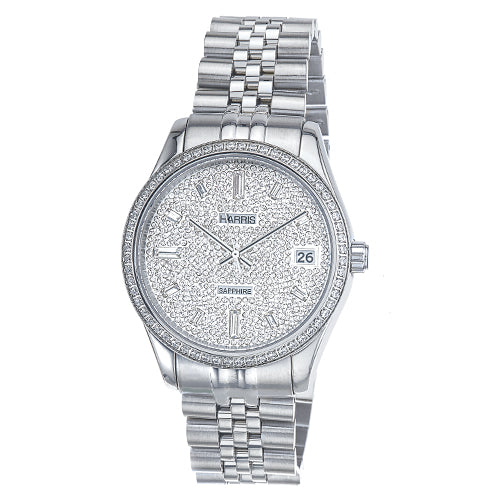 Harris stainless steel Men's watch with cubic zirconias