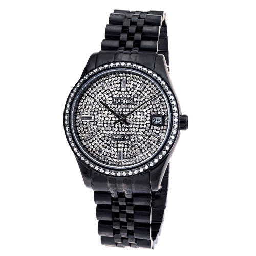 Men's Harris black ion plated stainless steel watch